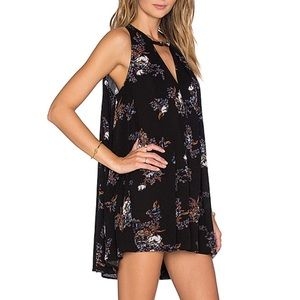 Free People Black Floral Snap Out of It Tunic Top
